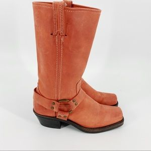 Frye coral pink harness boots